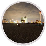 Pensacola Beach At Night Round Beach Towel