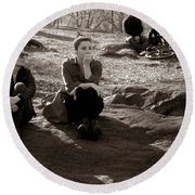 Pensive - In Central Park Round Beach Towel