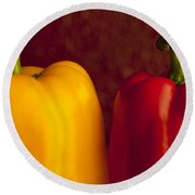 Peppers Still Life Close-up Round Beach Towel