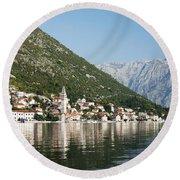Perast In Kotor Bay Montenegro Round Beach Towel