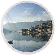 Perast Village In Montenegro Round Beach Towel