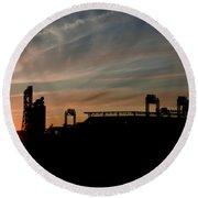 Phillies Stadium At Dawn Round Beach Towel by Bill Cannon