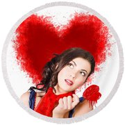 Photo Of Romantic Woman Holding Heart Shape Candy Round Beach Towel