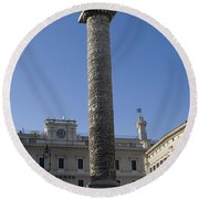 Piazza Colonnai Rome Round Beach Towel