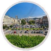 Piazza Della Vittoria - Genova Round Beach Towel