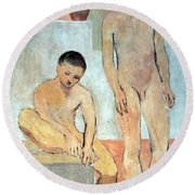 Picasso's Two Youths Round Beach Towel