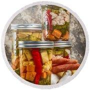 Pickled Vegetables Round Beach Towel