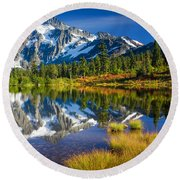 Picture Lake Round Beach Towel by Inge Johnsson