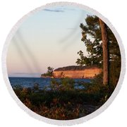 Pictured Rocks At Sunset Round Beach Towel