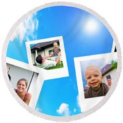 Pictures Of Happy Family Round Beach Towel
