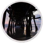 Pier In The Pacific Ocean, San Clemente Round Beach Towel