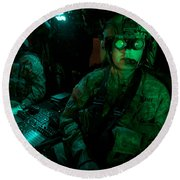 Pilots Equipped With Night Vision Round Beach Towel