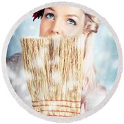 Pin-up Woman Cleaning Up In Cold Blue Winter Snow Round Beach Towel
