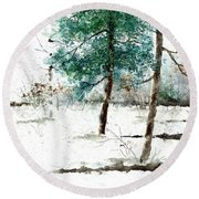 Pine Woods Round Beach Towel