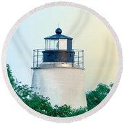 Piney Point Maryland Lighthouse Round Beach Towel