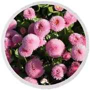 Pink Button Pom Flowers Round Beach Towel