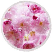 Pink Cherry Blossoms  Round Beach Towel by Elena Elisseeva