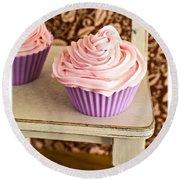 Pink Cupcakes Round Beach Towel