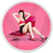 Pink Pin-up Model On Summer Vacation Round Beach Towel
