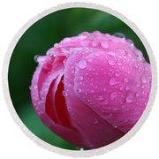 Pink Rain Drops Round Beach Towel