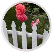 Pink Roses White Picket Fence Round Beach Towel