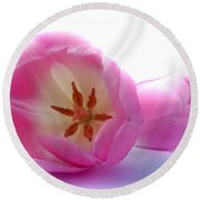 Pink Tulips Close Up And Personal Round Beach Towel