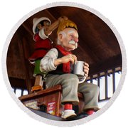 Pinocchio And Geppetto  Round Beach Towel