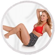 Pinup Girl Round Beach Towel