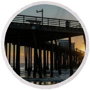 Pismo Beach Pier At Sunset, San Luis Round Beach Towel