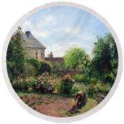 Pissarro's The Artist's Garden At Eragny Round Beach Towel by Cora Wandel