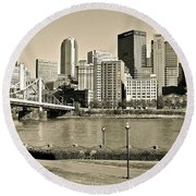 Pittsburgh In Sepia Round Beach Towel