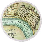Plan Of New Orleans, 1798 Round Beach Towel