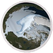 Planet Earth Showing Sea Ice Coverage Round Beach Towel