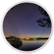 Planetary Conjunction Reflections At The Lake Mercury And Venus Round Beach Towel