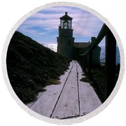 Point Conception Lighthouse Round Beach Towel