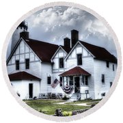 Point Iroquois Lighthouse Michigan Round Beach Towel