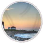 Point Judith Lighthouse Round Beach Towel