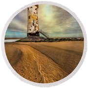Point Of Ayre Lighthouse Round Beach Towel