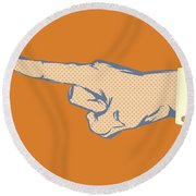 Pointing Finger Vector Round Beach Towel