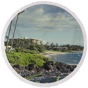 Polo Beach Wailea Point Maui Hawaii Round Beach Towel