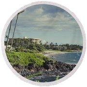 Polo Beach Wailea Point Maui Hawaii Round Beach Towel