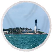 Pompano And The Hillsboro Inlet Lighthouse Round Beach Towel