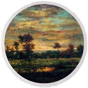 Pond At The Edge Of A Wood Round Beach Towel