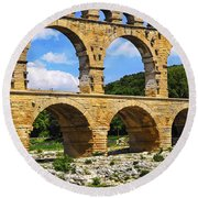 Pont Du Gard In Southern France Round Beach Towel