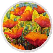Poppy Corner Round Beach Towel