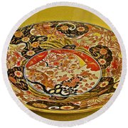 Porcelain Dish In Topkapi Palace In Istanbul-turkey  Round Beach Towel
