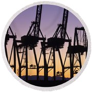 Port Of Seattle Cranes Silhouetted Round Beach Towel