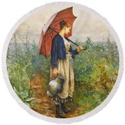 Portrait Of A Woman With Umbrella Gathering Water Round Beach Towel
