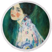 Portrait Of A Young Woman Round Beach Towel by Gustav Klimt