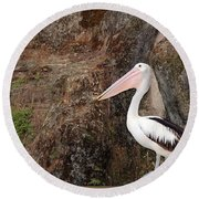 Portrait Of An Australian Pelican Round Beach Towel